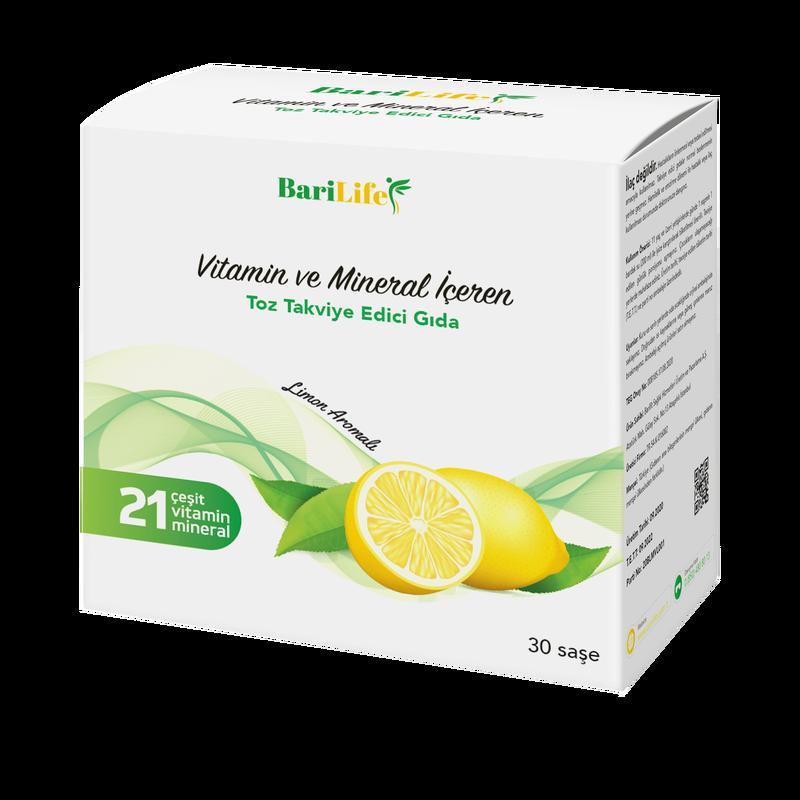 BARİLİFE - Barilife Vitamin ve Mineral İçeren Limon Aromalı Toz Takviye Edici Gıda