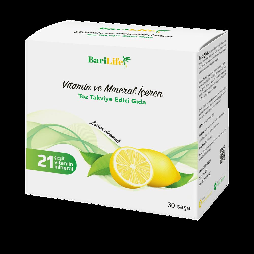 Barilife Vitamin ve Mineral İçeren Limon Aromalı Toz Takviye Edici Gıda